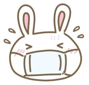 マスクしているウサギ