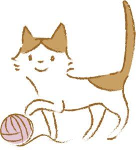 毛糸で遊ぶ猫のイラスト