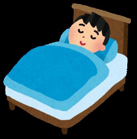 ベッドですやす寝ている男の子