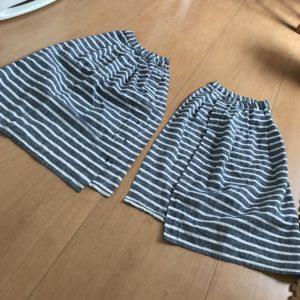 スカートを二つに分けた所